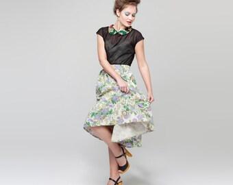 Full Skirt - Hay Bale Linen Skirt in Lilac Blooms
