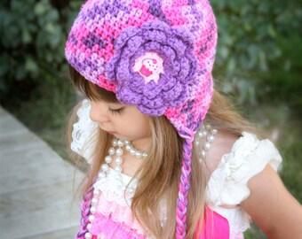 Girls crochet hat - ear flap hat - Toddler hat - Infant hat - Winter hat - purple hat - Cupcake hat - newborn hat - Spring hat - baby hat