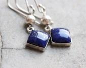 Lapis lazuli earrings- Lapis earrings -  Bezel set earrings - artisan earrings- Gemstone earrings - Gift ideas for her
