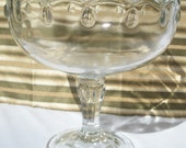 Glass Compote Fruit Footed  Bowl with Vintage Tear drop and Scalloped edge