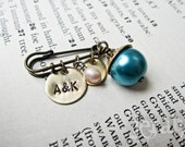Old, New, Borrowed, Blue - Personalized Fall Wedding Bridal Bouquet Pin - Hand Stamped with Date, Monogram, Initials, Freshwater Pearl