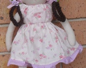 Sew Sunshine -JCOCO doll-(pink and purple flowers)- Handmade Soft Cotton Doll