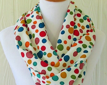 Short Polka Dot Infinity Scarf , Colorful Women's Scarf , Circle Scarf, Loop Scarf, Tube Scarf , Scarves, Eclectasie
