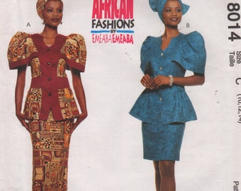 McCalls 8014 Womens Peplum Top Skirt Headwrap Pattern Authentic African Emeaba Sewing Size 10 12 14,12 14 16, 14 16 18 UNCUT