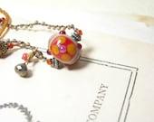 Lampwork bracelet crocheted mustard sangria lampwork sand hand knotted  pamelasjewelry