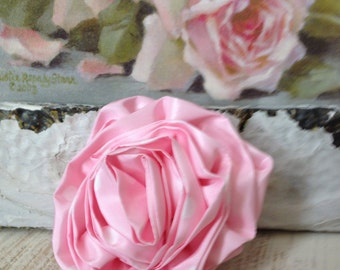 Pink Taffeta Handmade Rose - Pillow - Headband - Sash - Pink Polka Dots