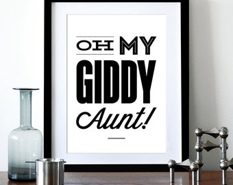 Typography art poster print, Motivational print, Inspirational, Kitchen art, Office art, graphic design, typographic - Oh My Giddy Aunt! A3