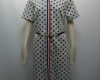 vintage 1960s mod blue and white polkadot button dress/ 60s shift dress with belt