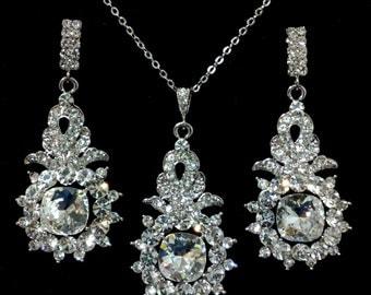 Silver Bridal Jewelry Set, Dangle Bridal Earrings, Drop Wedding Necklace, Swarovski Crystal Wedding Jewelry, Wedding Gift for Her, MOULIN