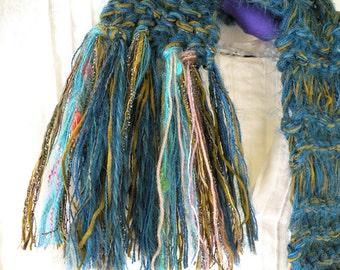 Knit scarf, Girls' women's green teal blue long soft wool warm winter fashion scarf i950a Life's an Expedition