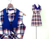 1960s Mini Dress / Plaid Mini Dress / Vintage 60s Dress / Medium M