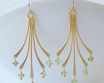 LAST ONE Peridot Green Chandelier Earrings