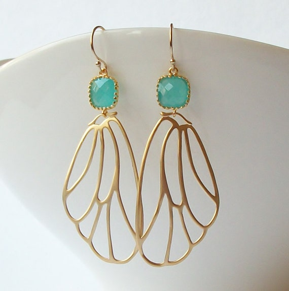 Mint Green Butterfly Wing Earrings