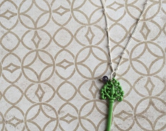 Green Key Pendant Necklace with Purple Bead