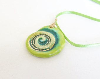 Turquoise and Lime Ceramic Spiral Pendant With Glazes and Melted Glass