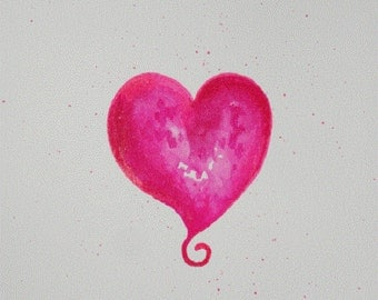 Original HEART painting, heart painting, watercolor heart 8x10 OOAK Watercolor painting