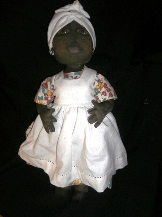 Handmade Painted Fabric Black Folk Art Mammie Doll - Cora Mae