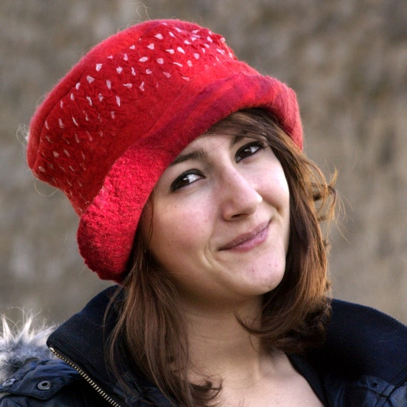 unique handmade felt hats polka dot felt hat womens by