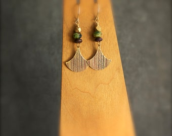 Etched Brass Dangle Drop Earrings Pendulum Swing Gold Metal Brown Wood Green Blue Glass Stripe Texture Lines Tribal Boho Jewellery