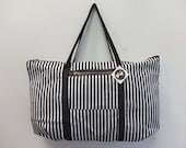 OOAK B and W Stripe Tuffle Bag