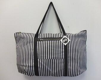 OOAK B and W Stripe Tuffle Bag