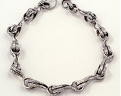 Hand forged custom sterling silver wire double S  chan link bracelet