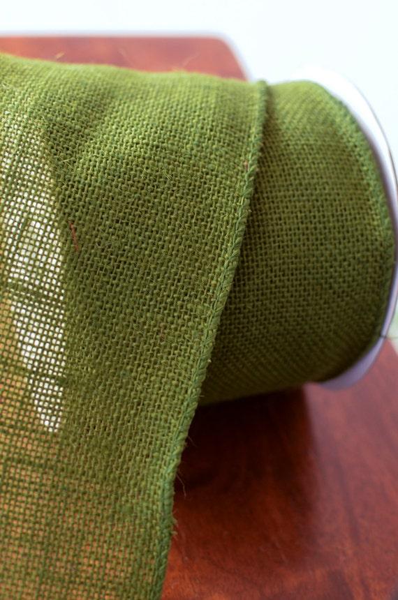 Moss green wired burlap ribbon 4 wide burlap burlap for Green burlap ribbon