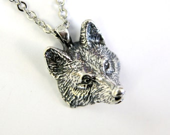 Two for One Sale....Realistic Wolf Head Pendant in Sterling Silver Plated White Bronze 368