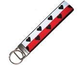 Black Heart Stripe Key Chain Wristlet