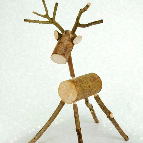 Rustic log deer deer reindeer ornament decoration - Renne de noel en bois ...