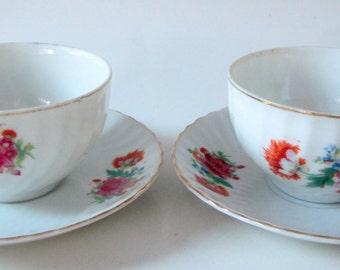 Tea Cup Saucer Nippon Yoko Boeki Floral Swirl Scalloped Gold Rim Ornate Handle Set of 2 Demitassee