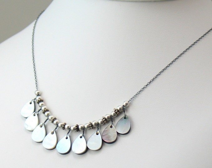 Featured listing image: Black Lip Shell and Silver Bib Necklace, Luminous Shell Necklace Reversible for Black or White, Versatile Elegant Necklace, Artisan Original