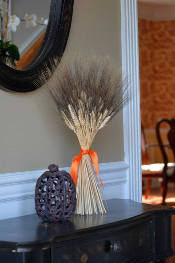 Halloween Decoration- Halloween Decor- Wheat Sheaf Fall Decor- Halloween Colors, Dried Floral Decor, Table Centerpiece, Dried Wheat Bundle,