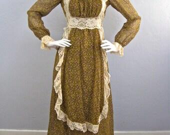 "Vintage 1969 Black Label ""Gunne Sax by Jessica"" Very Rare! Renaissance Style Floral Maxi Dress"