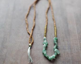 Mixed Media Boho Necklace /  Green - Golden - Brown Necklace /  Gemstone Necklace / Green Nekclace /