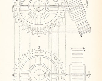 1885 Technical Drawing - Gears - Antique Math Geometric Mechanical Drafting Interior Design Art Illustration Framing 100 Years Old