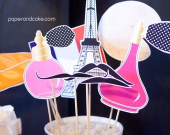 Paris Printable PHOTOBOOTH PROPS City of Love, Eiffel Tower, Perfume Bottles, Berets - EDITABLE Text >> Instant Download | Paper and Cake
