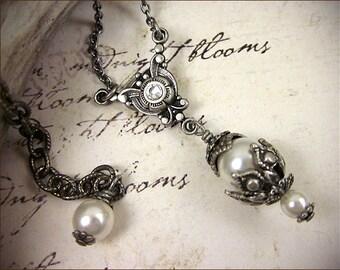 White Pearl Medieval Necklace, Renaissance Jewelry, Bridal Necklace, Bridal Pendant, Bridesmaid, Renaissance Wedding, Tudors, Rhiannon