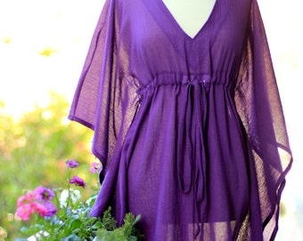 Mini Caftan Dress - Beach Cover Up Kaftan in Purple Cotton Gauze - 20 Colors