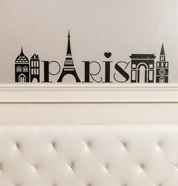 Paris Girls Tower city wall decal vinyl lettering quote sticker art