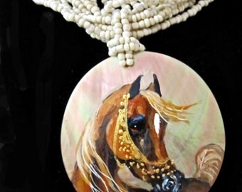 Arabian horse art handpainted necklace o mother of pearl chestnut 4