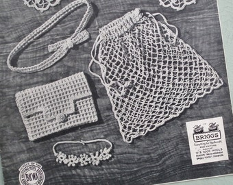 Original vintage crochet pattern 1940s women's accessories bag purse belt necklet necklace string shopping bag doilies World War Two WWII