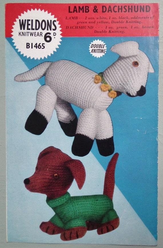 Vintage Knitting Patterns Toys : Vintage 1950s Knitting Pattern Soft Toys Dalmatian Dog Lamb 50s original patt...