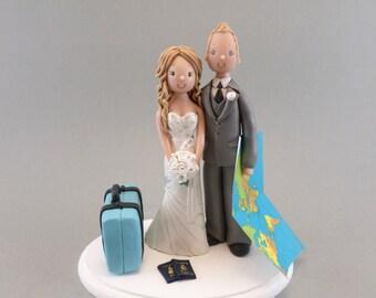 Cake Topper Customized Bride & Groom Travel Theme Wedding