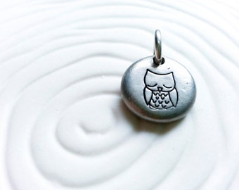 Owl Charm- Personalized Hand Stamped Necklace Charm