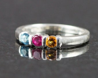 3 Stone Mother's Ring - Sterling Mother's Ring - Choose Your Birthstones - Gift for Her