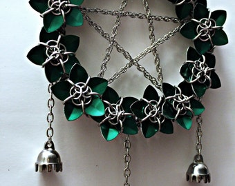 Pentacle Wreath Scalemail Chainmail Dream Catcher with Bells