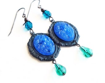 Royal Blue Earrings Vintage Floral Earrings Carved Glass Jewelry Sapphire Jewelry Blue Aqua Victorian Statement