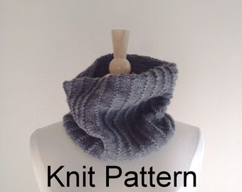 Knit Scarf Pattern - hand knitted cowl scarf pattern - circle scarf pattern - warm winter scarf pattern - oxford grey - Instant Download