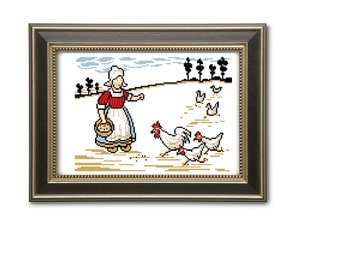 Girl and chicken. Cross stitch pattern. Instant download PDF.